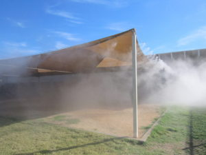 Misting on shaded structure
